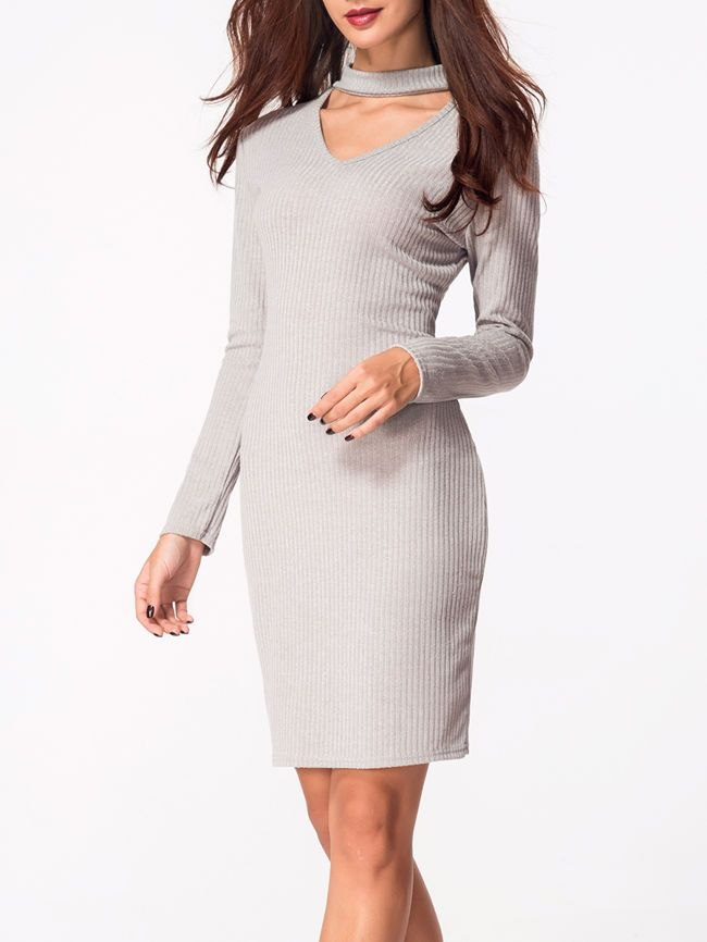 Crew Neck Cut-out Plain Bodycon-dress