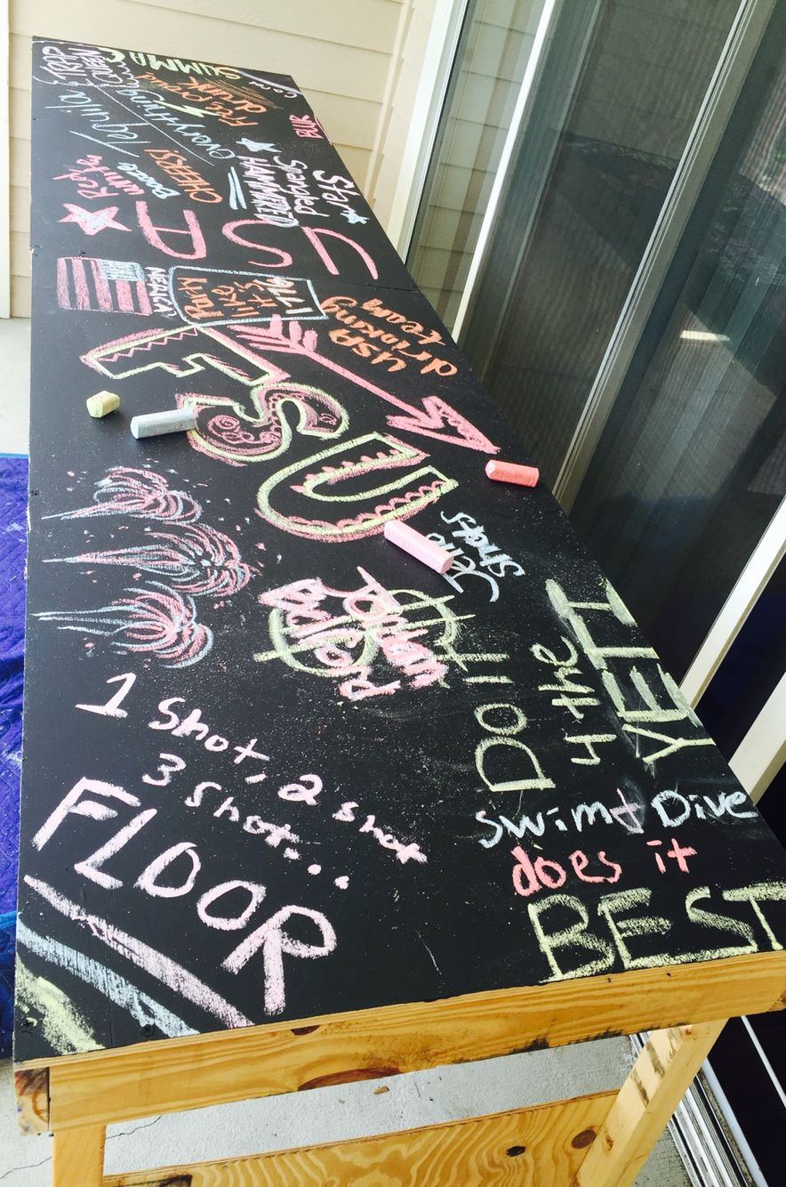 Homemade beer pong table - Chalk Board Beer Pong Table