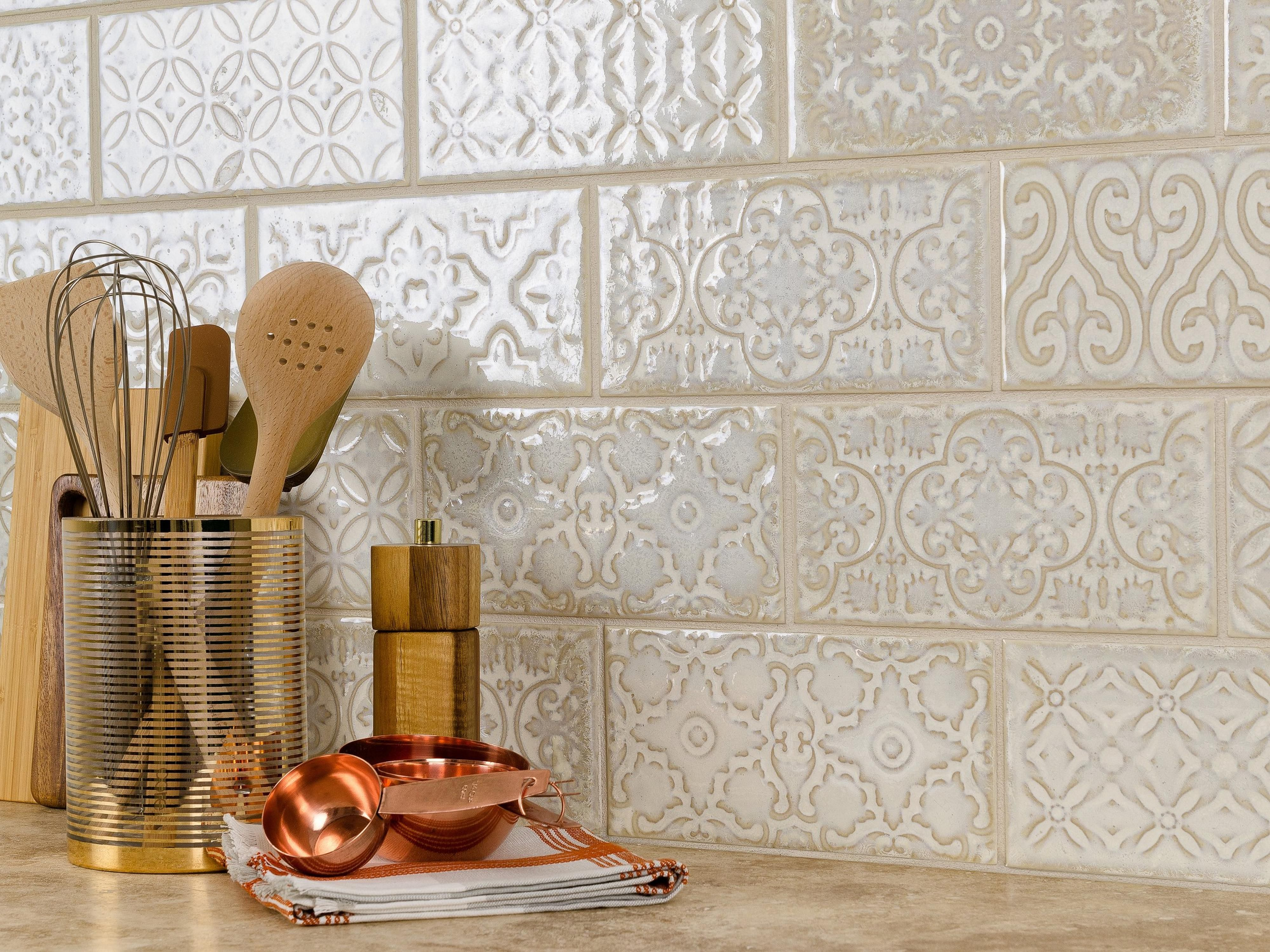 Patina White Polished Porcelain Tile  White tile backsplash