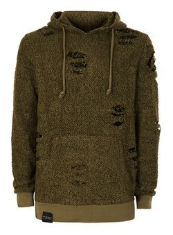 CRIMINAL DAMAGE Green and Black Distressed Wooly Hoodie*