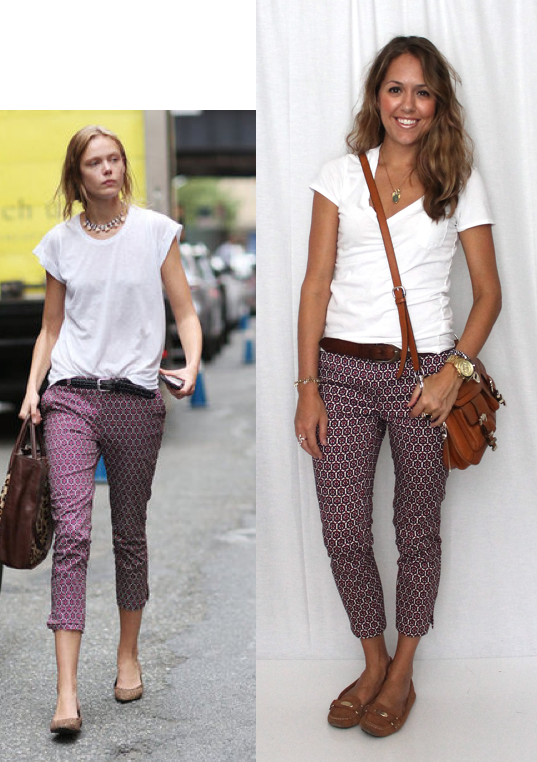 Casual printed pants with white t-shirt