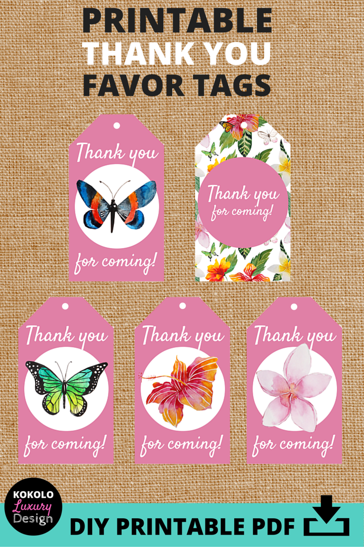 Printable Thank You Tags for Bridal Shower Favors - These pink ...