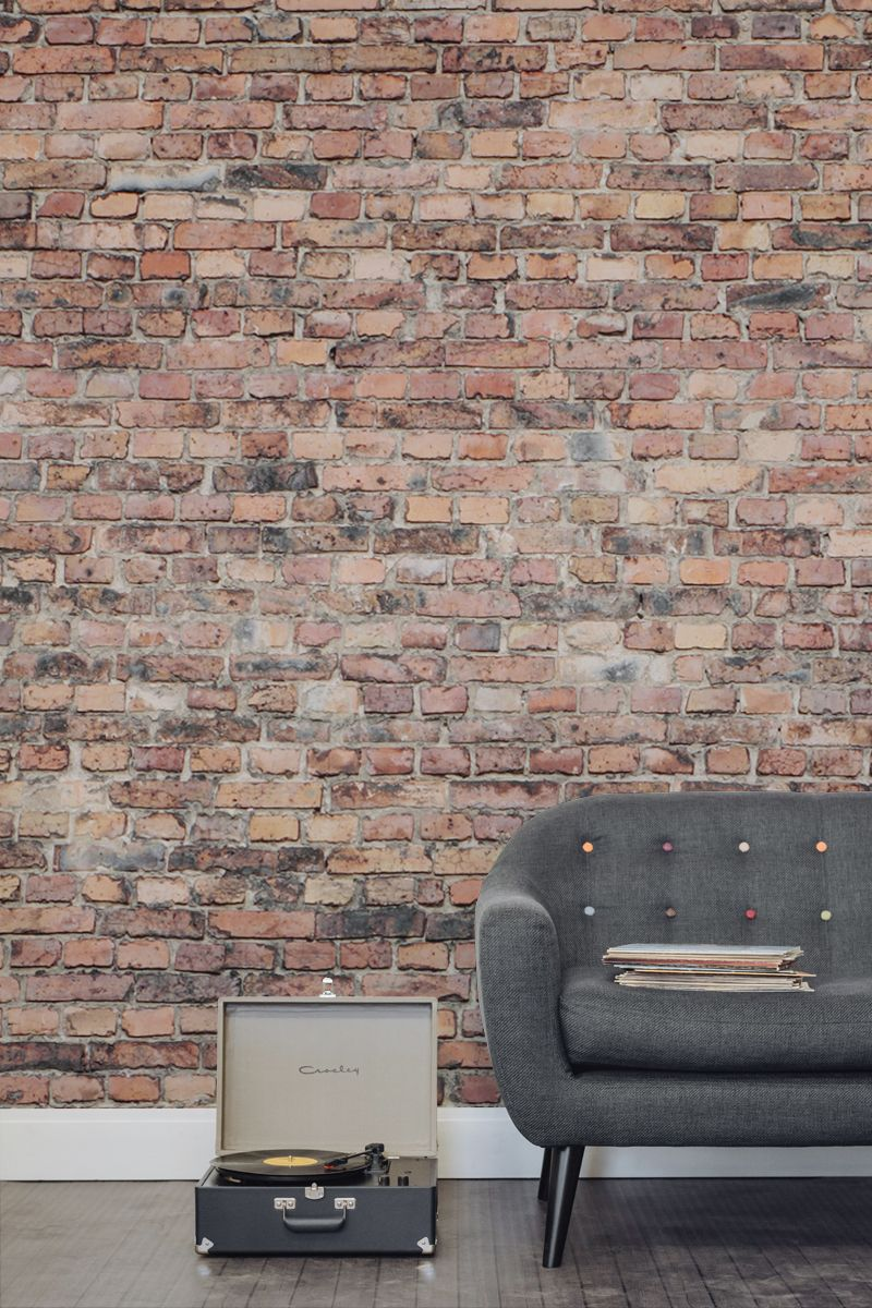Red brick effect wallpaper aged brick wall - Wood effect wallpaper living room ...