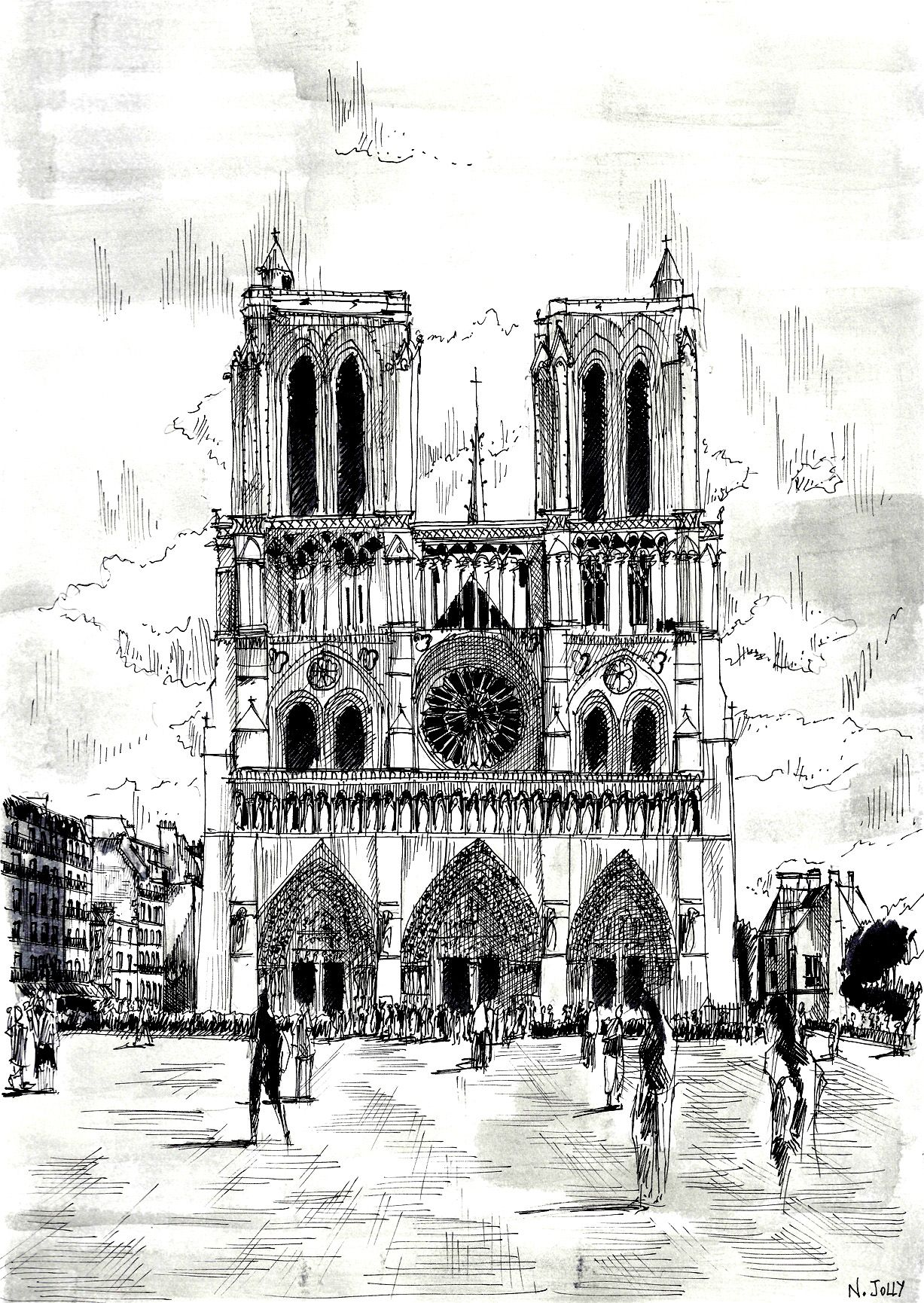 Free coloring page coloring-drawing-notre-dame. Beautiful drawing ...