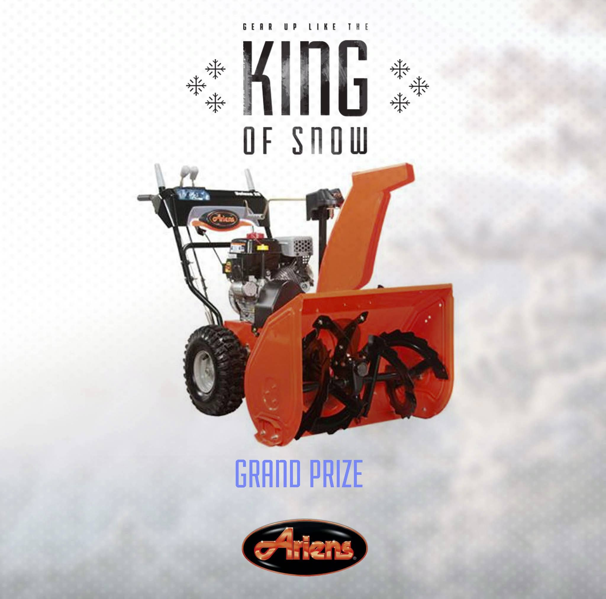 Attention Ariens fans! Tomorrow, February 11th at 4 p.m. (CST) is the drawing for the Grand Prize Ariens Deluxe 28 Sno-Thro! Are you feeling lucky?  Don't forget to enter once per day - Chance for daily prizes!  Use this link to enter --> http://woobox.com/gzq6ns  #KingOfSnow #Ariens