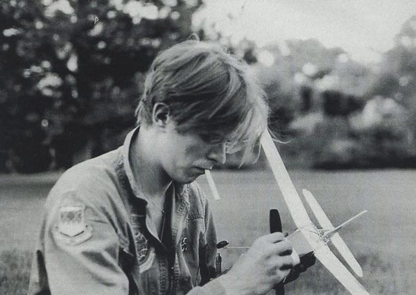 """This is from one of my favorite online photo albums, """"Pictures of David Bowie Doing Normal Stuff"""" on Flavorwire. Ziggy Stardust is just fixing a model airplane."""