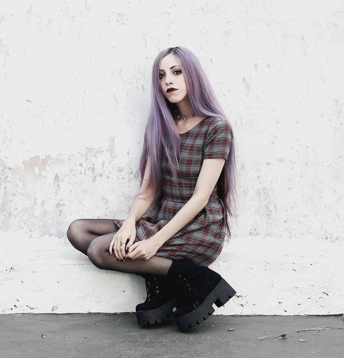 Plaid dress, Spiked Choker and Boots - By Jennifer Potter