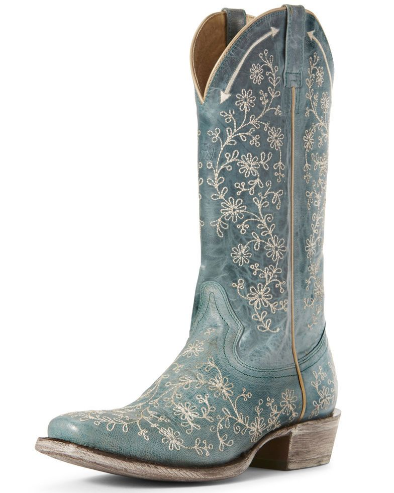 Blue Suede Cowboy Boots  Womens Western Boot size 7