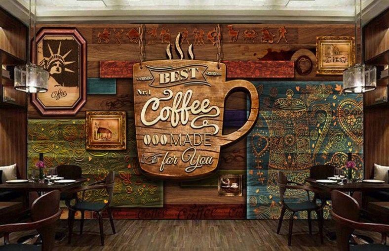 Motif Wallpaper Dinding Cafe Desain Kedai Kopi Interior Kafe