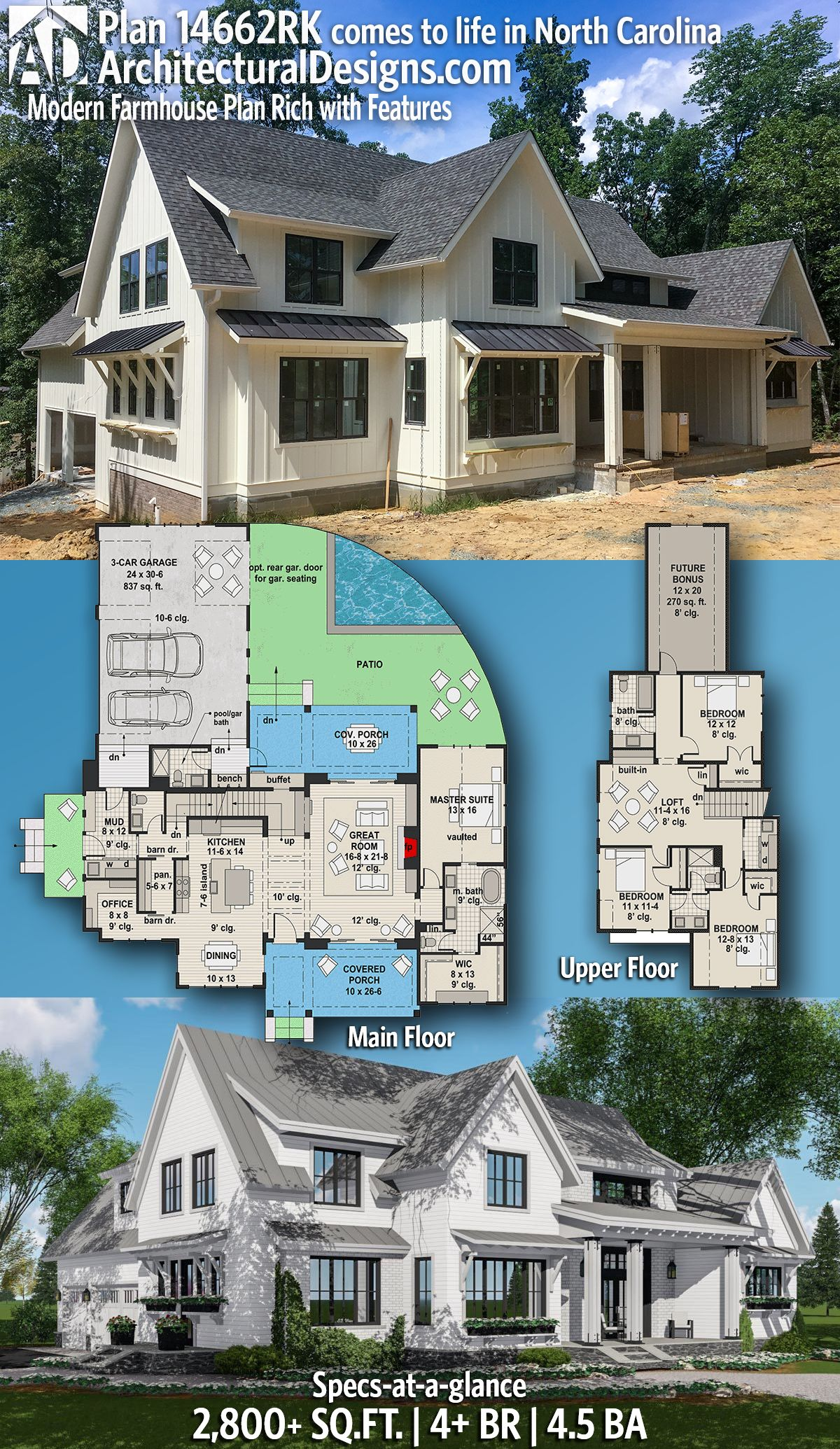Farmhouse Architecture Features Plan 14662rk Modern Farmhouse Plan Rich With Features In