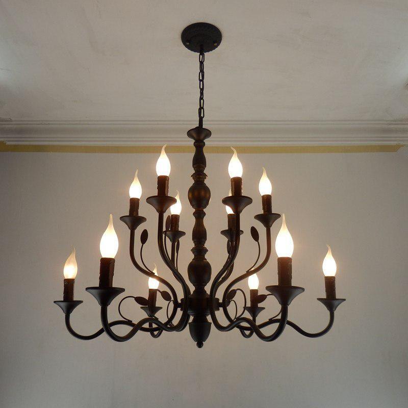 19th Century French Gothic Black Wrought Iron Four Light