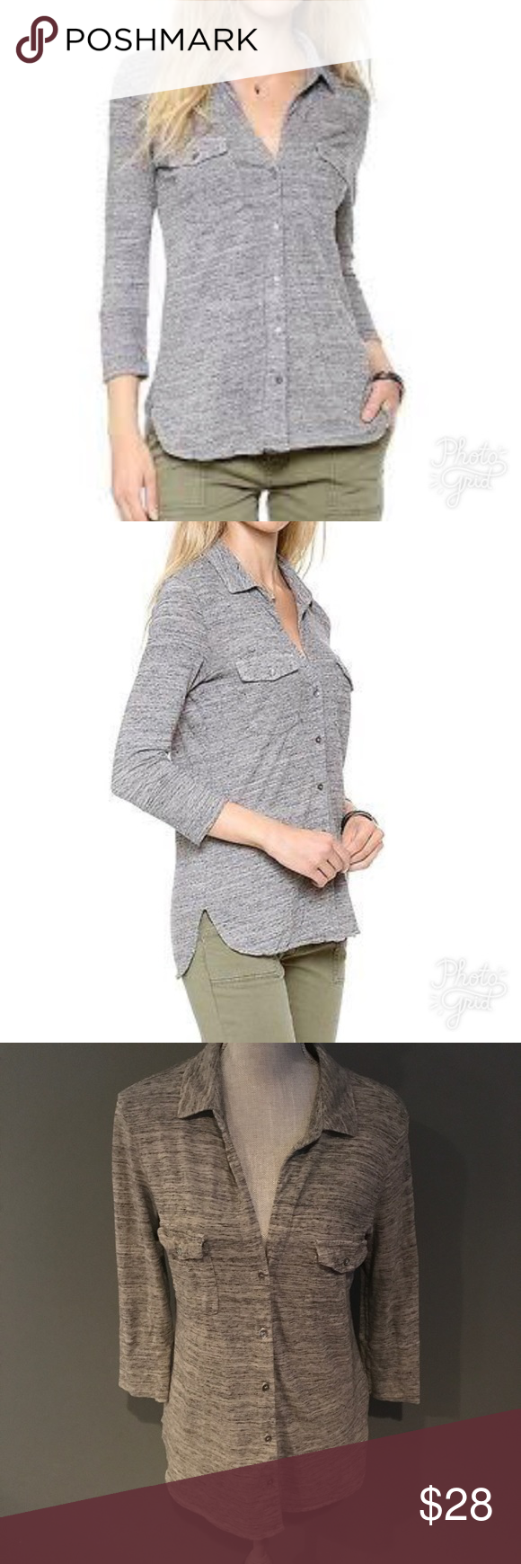 James perse melange button down heathered gray gorgeous top very good used condition see also rh pinterest