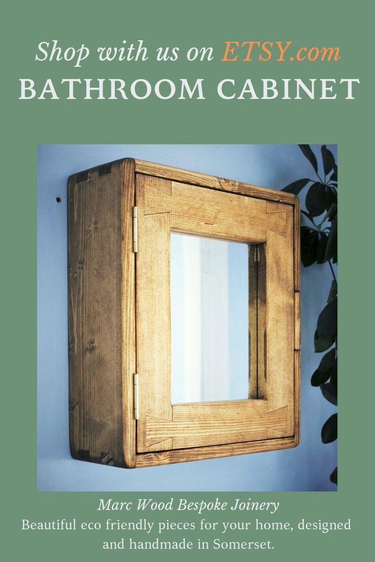 Bathroom Wall Cabinet Natural Eco Solid Wood Small Mirror Door 43 5h X 38 5w X14d Cm 2 Shelves Modern Rustic Custom Handmade Somerse In 2020 Modern Rustic Furniture Wooden Bathroom Cabinets Modern Shelving