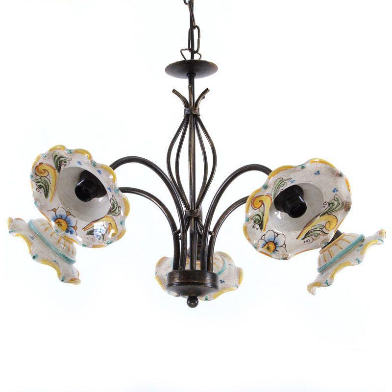 Lampadari In Ceramica Di Caltagirone.Lampadario In Ceramica Di Caltagirone Siciliana Nel 2020 Lampadari Ceramica Lampadari In Ferro Battuto