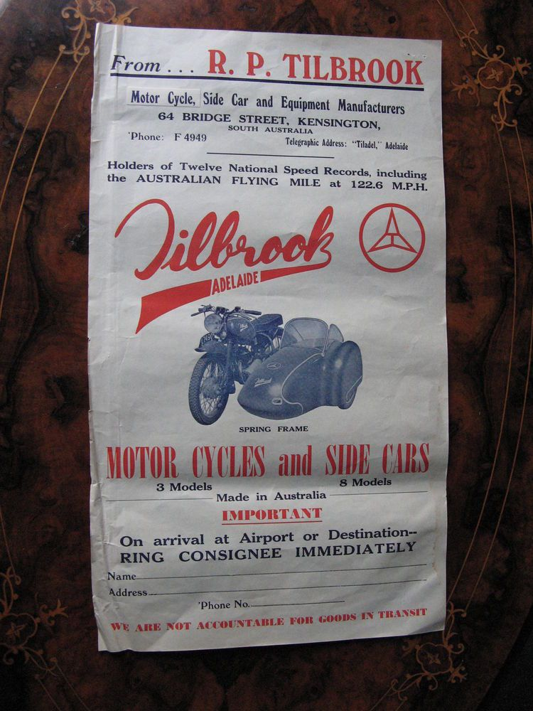 Tilbrook Motorcycle And Sidecar Poster Size Shipping Label - shipping label