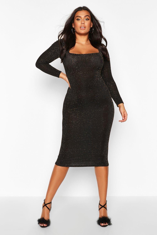 Plus Glitter Square Neck Long Sleeve Midi Dress Boohoo Long Sleeve Midi Dress Midi Dress Dresses [ 1500 x 1000 Pixel ]