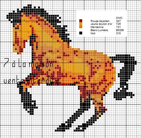 Grille Point De Croix A Imprimer Cheval Animal Patterns