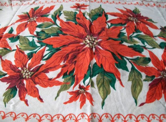 Vintage Christmas Table Runner Poinsettia Tablecloth Red Poinsettias  Vintage Linen
