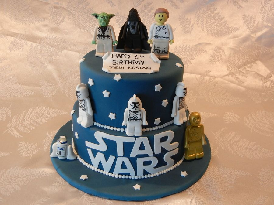 Easy Star Wars cake - could use real lego figures instead of fondant ...