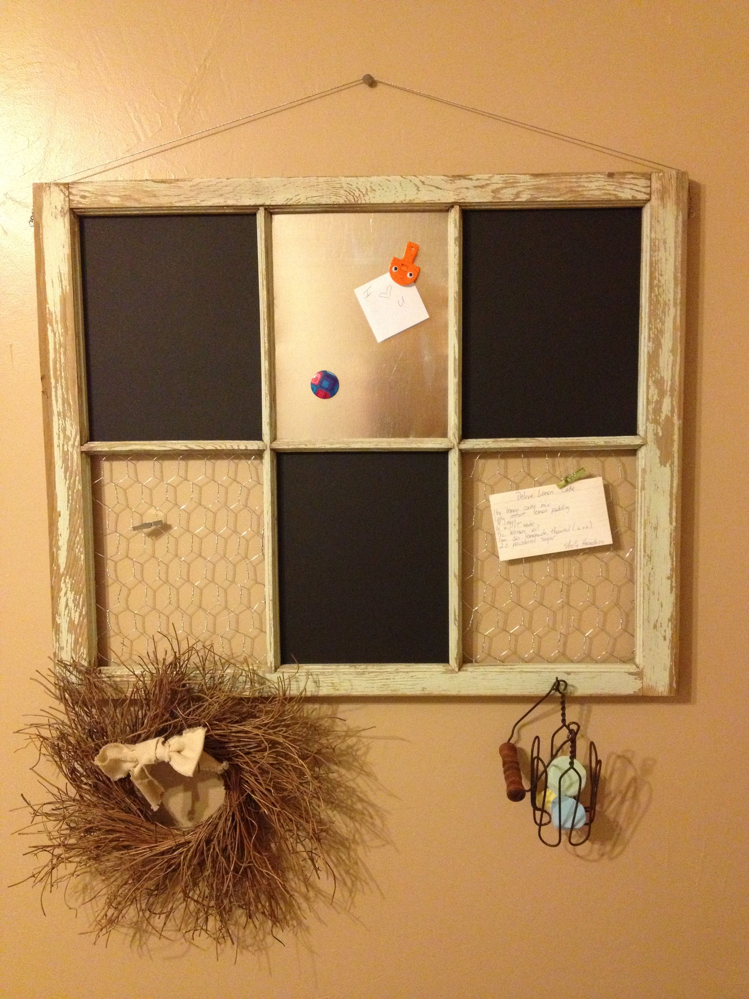 My newest project! A 6-paned antique window, with chalk board, magnet board, and chicken wire. I left the original chipped mint green paint for character.