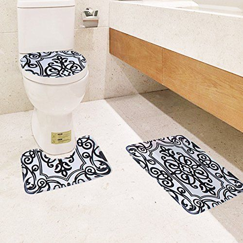Black And White Bath Mat Set 3 Piece Toilet Rug Bathroom Contour Non Slip