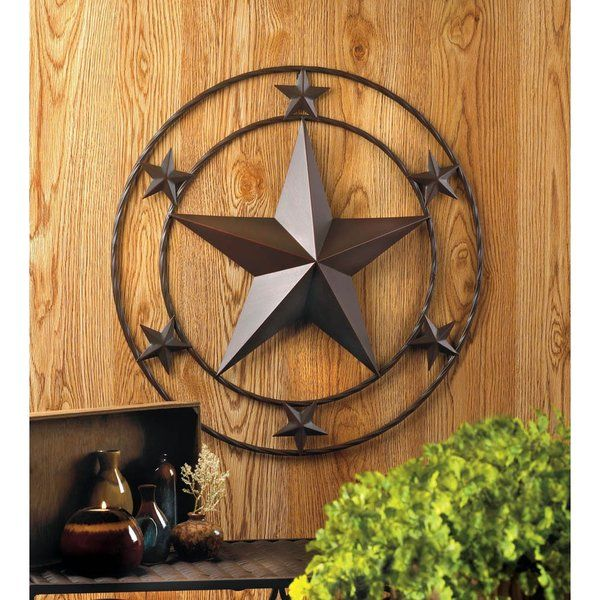 Rustic Farmhouse Texas Lone Star Metal Wall Art Plaque Decor