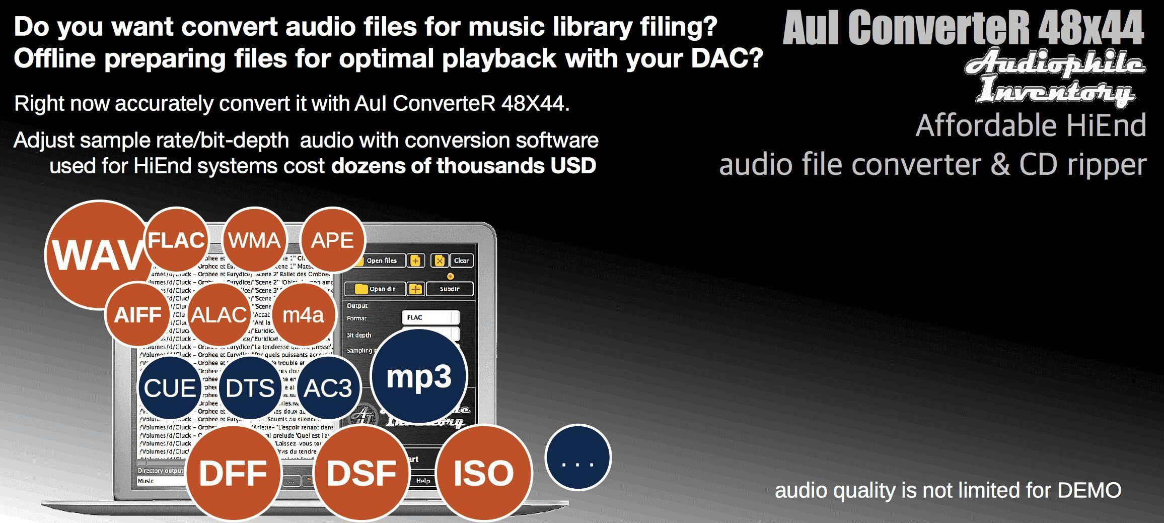 Audio Converter Software [WAV mp3 m4a FLAC AIFF WMA ISO DSF