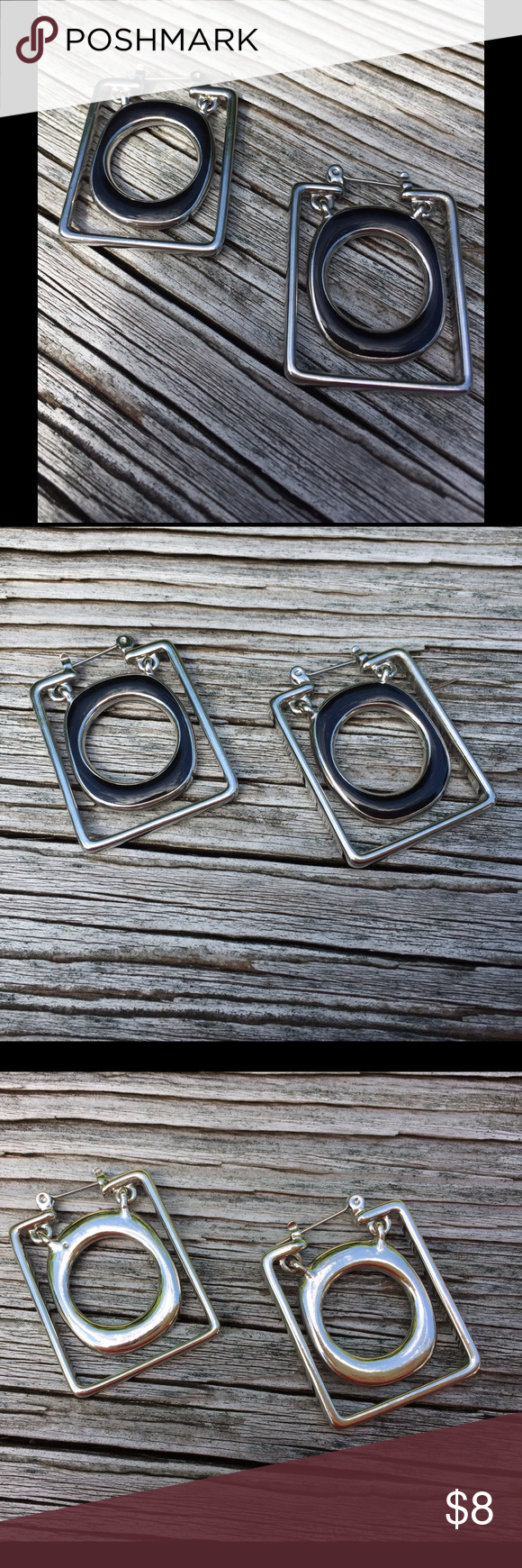 Square Hoop Earrings Pierced earrings / square design / silver metal with black circle in the middle / the middle circle has movement, dangling on the inside of the square / the coloring in the picture of the backsides is just a reflection, not tarnishing. Jewelry Earrings