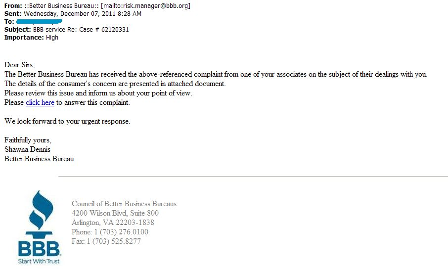 ALERT Malicious Complaint Email Claiming It's From BBB - BBB News ...