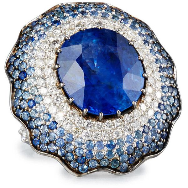 Alexander Laut 18K White Gold Round Blue Sapphire Ring with Diamonds 3CtYz