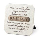 LCP Journey White Resin Plaque With Bronze Title Bar Scripture Verse Jeremiah 29:11 / http://www.contactchristians.com/lcp-journey-white-resin-plaque-with-bronze-title-bar-scripture-verse-jeremiah-2911/
