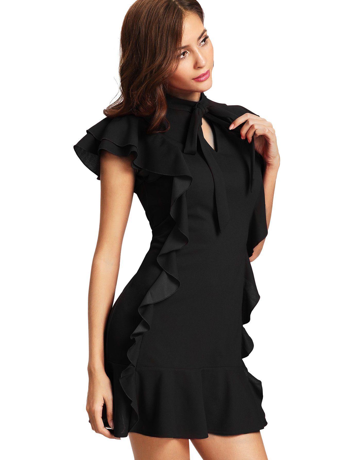 a4e144580e4 Floerns Womens Tie Neck Ruffle Hem Short Cocktail Party Dress Black XS >>>  Want