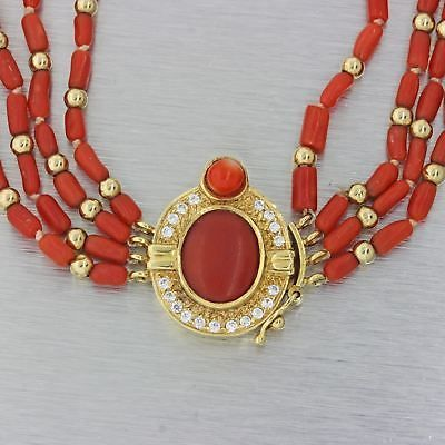 Vintage solid 18k yellow gold 20ct diamond red coral strand vintage solid 18k yellow gold 20ct diamond red coral strand pendant necklace j8 aloadofball Images