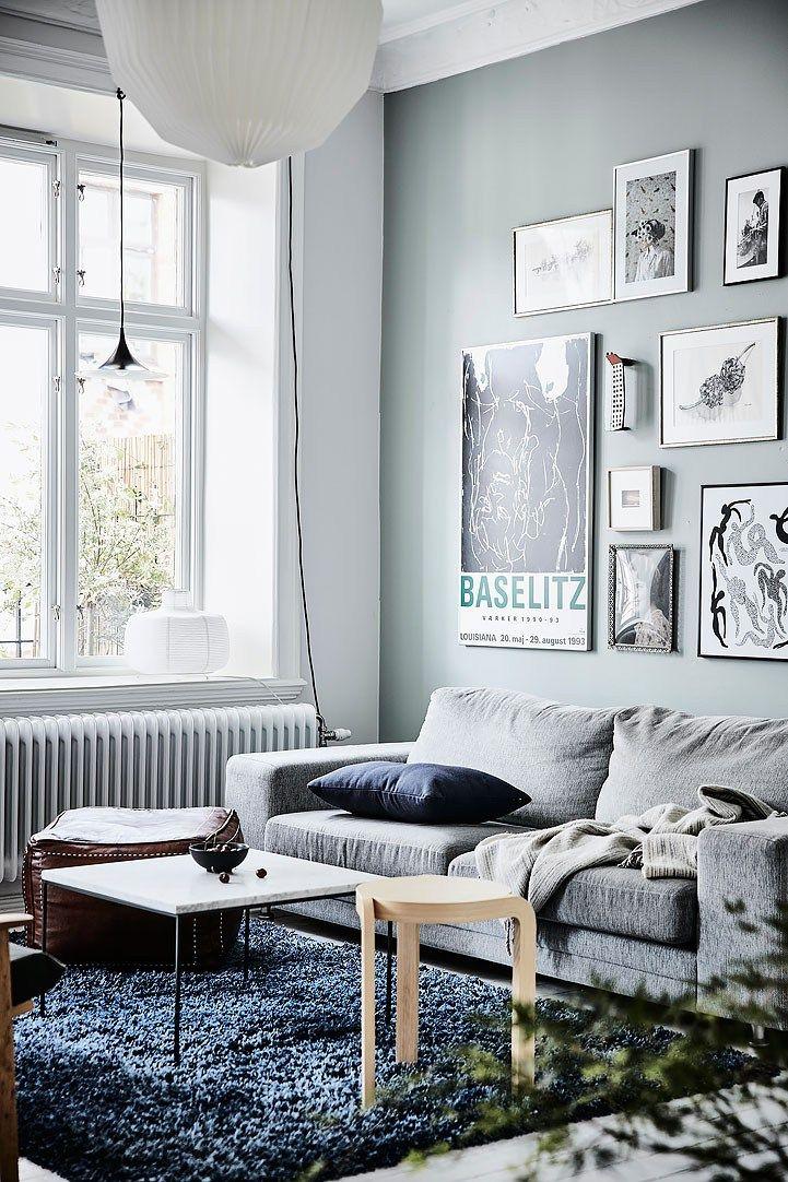 Cálidos detalles en un piso nórdico Pared azul, Decoracion pisos