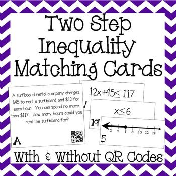 two step inequalities on a number line matching cards word problems algebra and qr codes. Black Bedroom Furniture Sets. Home Design Ideas