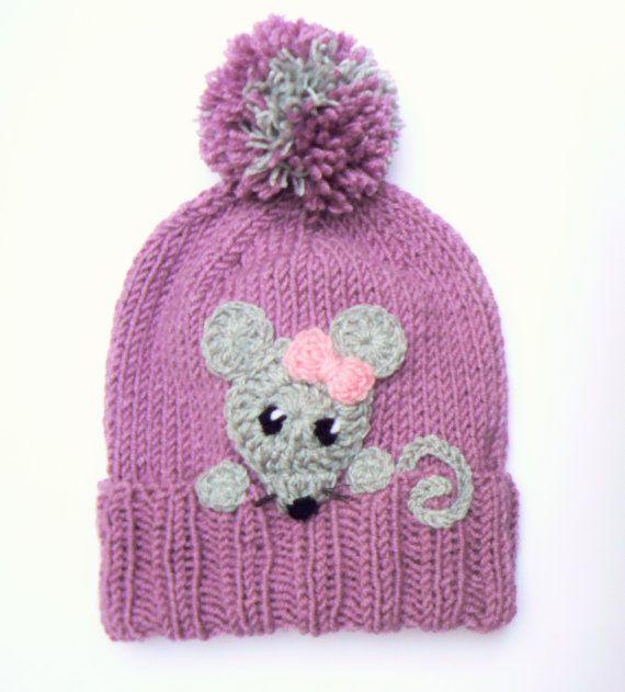 Knit Girls Hat, Mouse Hat, Pom Pom Hat, Winter hat, Knit Beanie, Beanie Hat, Cute winter hat, Gray mouse, Purple hat, Funny Hat, Animal Hat #setinstains