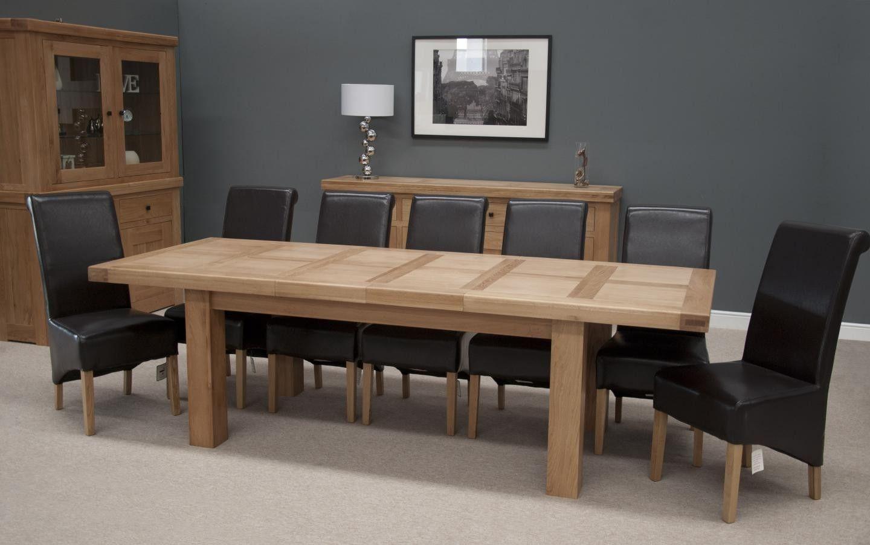 Hippo Oak Large Dining Table 2 Leaf 180cm 260cm X 100cm 12