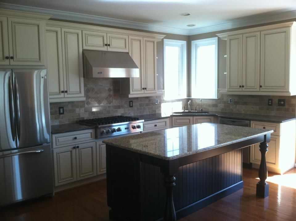 Our Kitchen   Done By Nicklemen Construction. Craft Maid Custom Distressed  Cherry Cabinets For Island