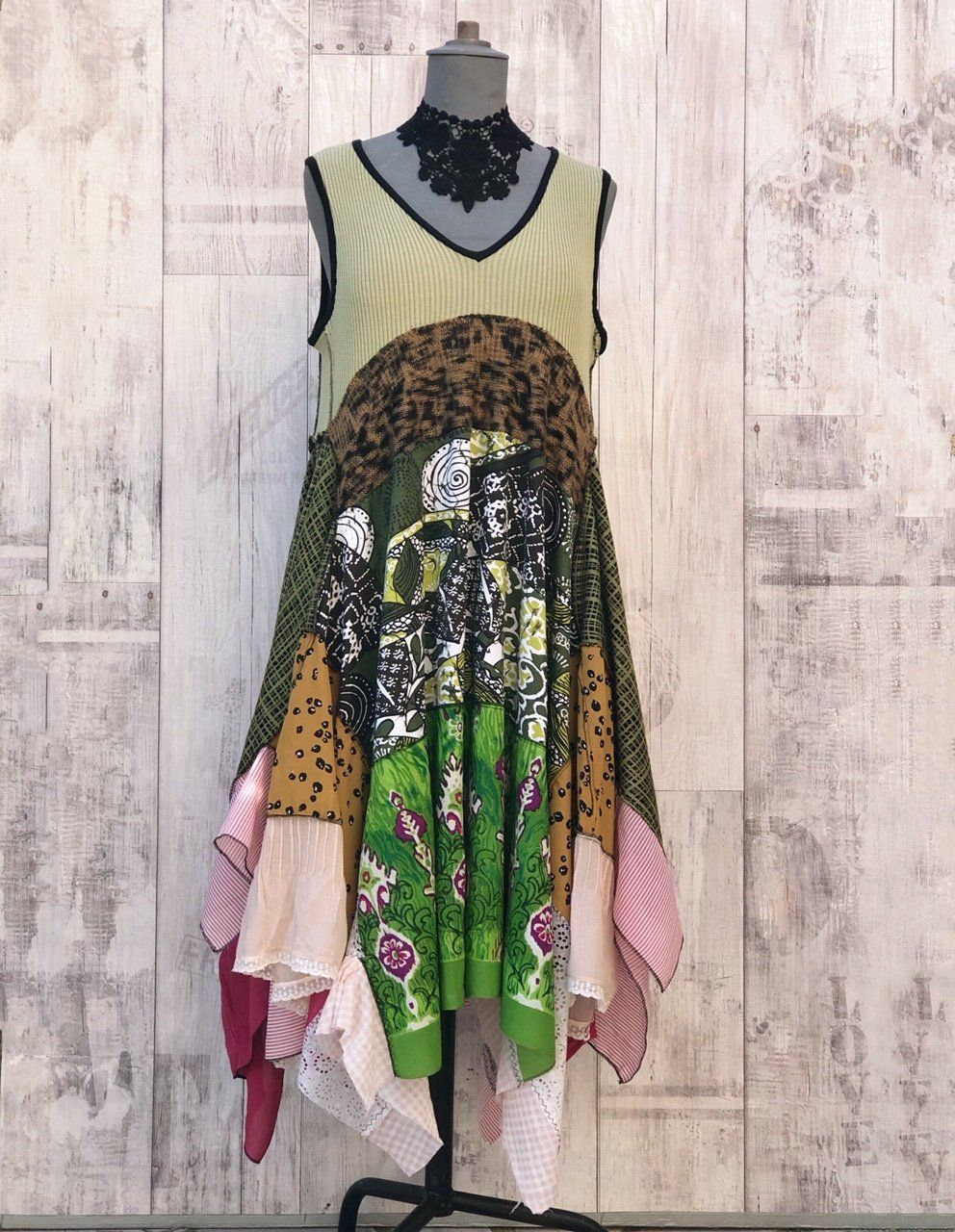 68e7608a4d7 Upcycled Country Dress green jadel