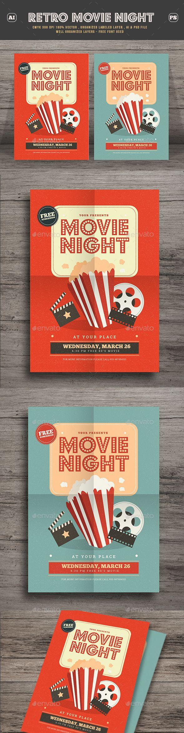 Retro Movie Festival Flyer — Psd Template #fest #clapboard • Download ➝  Https://graphicriver.net/item/retro-Movie-Fest… | Retro Vintage Flyer  Template