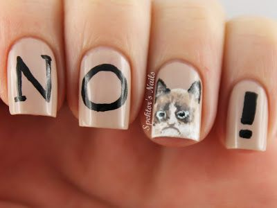 """Grumpy Cat nails by Spektor's Nails! """"I had fun once, and it was awful."""""""