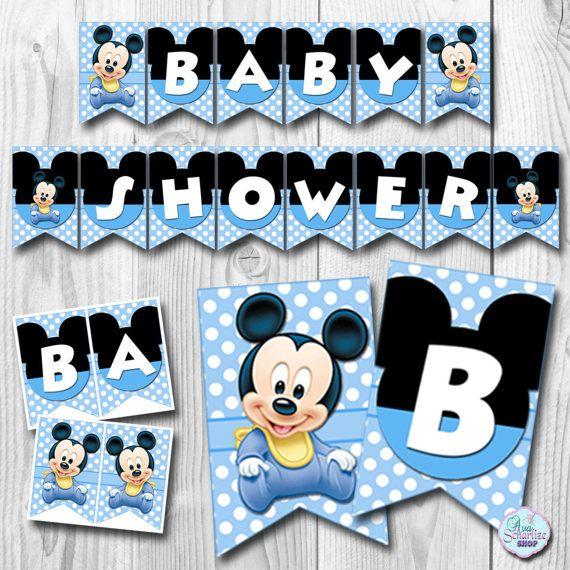 Baby Mickey Mouse Invitation Baby Shower Invitation Baby | Mickey Bebe |  Pinterest