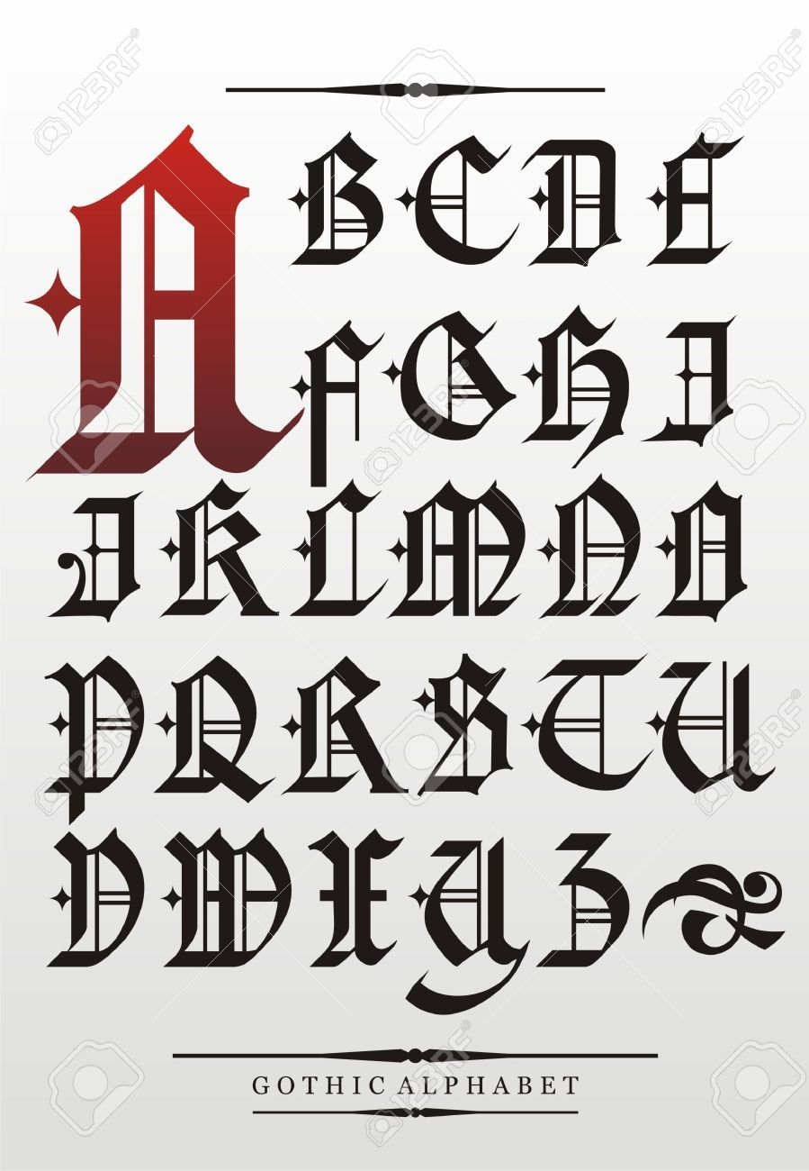 Gothic font alphabet with decorations calligraphy