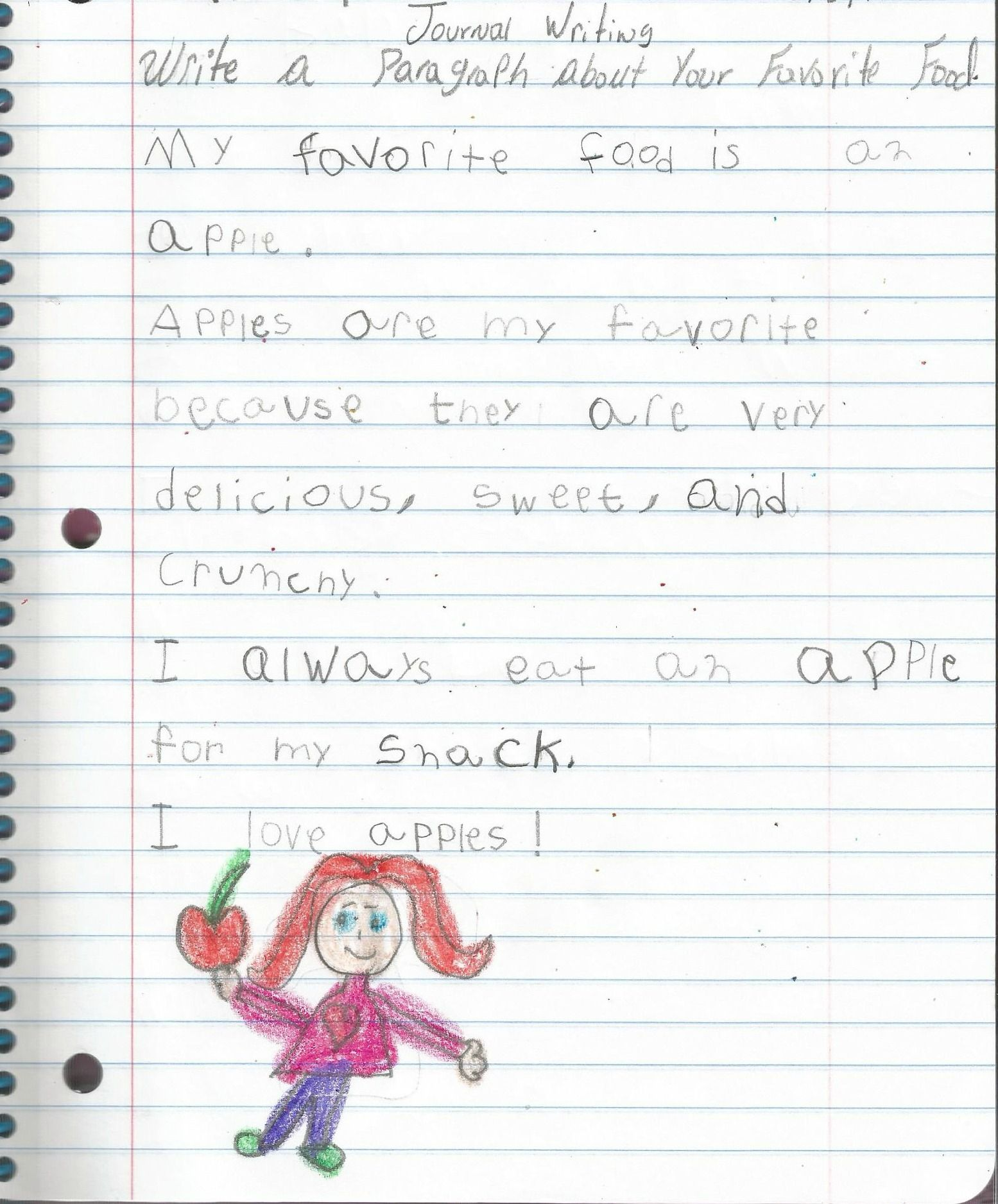 Write a paragraph about your favorite food  | First Grade Writer's