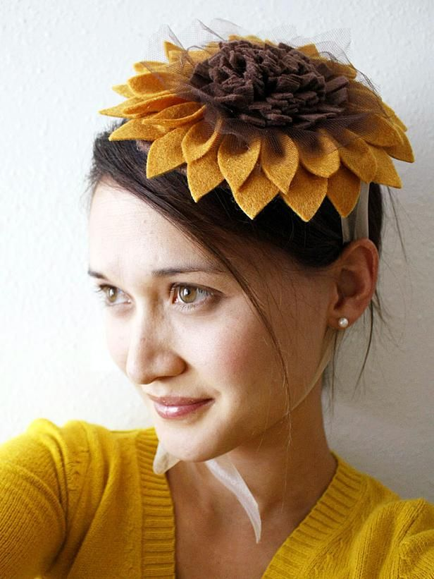 Sunflower Mini Hat Top a cardboard circle with layers of felt petals to craft this cheery sunflower hat-ette. DIY Halloween Costumes and Makeup Tricks ...  sc 1 st  Pinterest & DIY Halloween Costumes and Makeup Tricks | Make up tricks Home-made ...