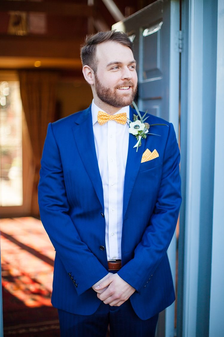 creative amp fun spring floral wedding blue suit groom