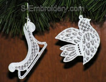 Freestanding lace Christmas tree ornaments -bird and tree