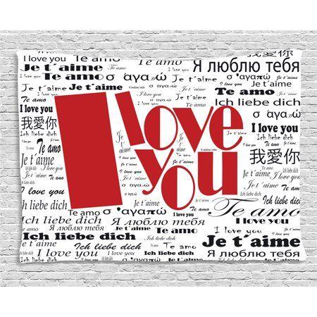I Love You Tapestry Newspaper Stylized International Love