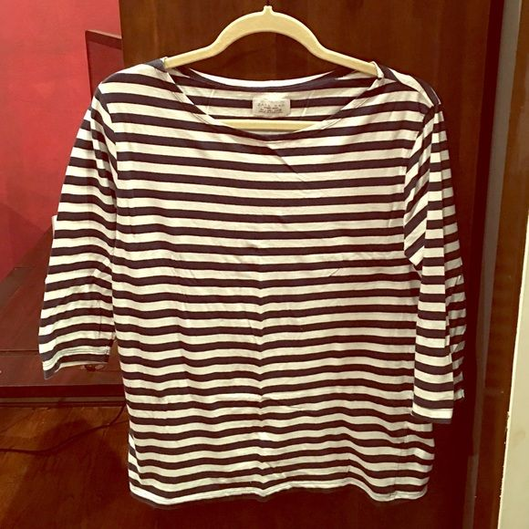 1516cb61 Zara T-Shirt. Navy blue with white striped Zara T-Shirt. Half-sleeve. Says  it's for men but can also be for women. Size Large, loose fit.