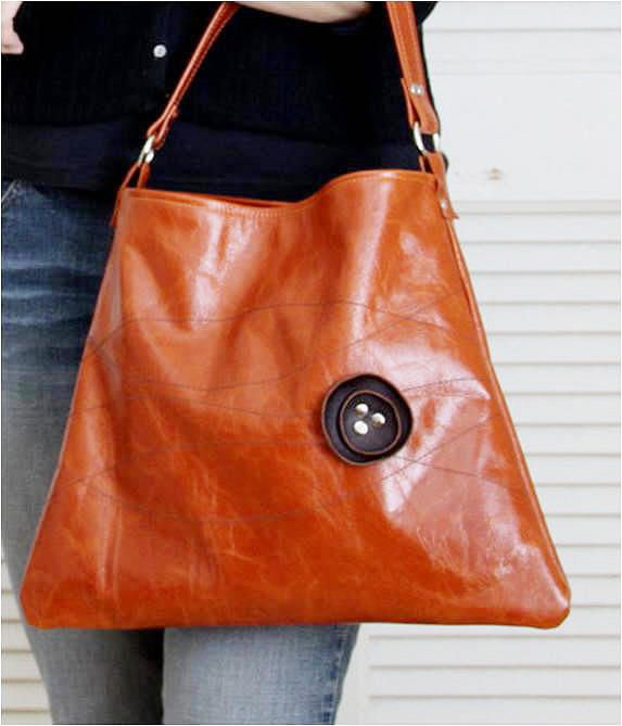 Items Similar To Last One Leather Tote Bag Handbag Dark Brown Poppy And Sching On Distressed Orange E Etsy